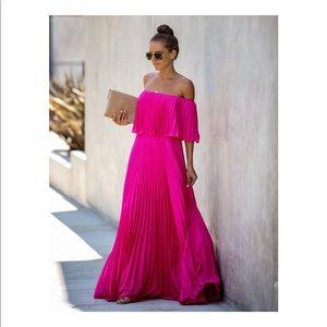 Pleated Maxi Dress- Fuschia